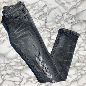 Miss Me Grey Distressed Skinny Jeans